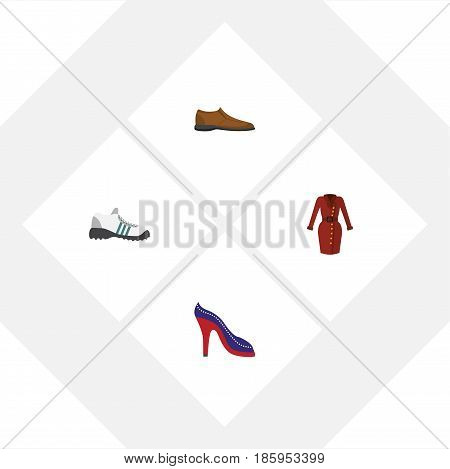 Flat Clothes Set Of Male Footware, Heeled Shoe, Sneakers And Other Vector Objects. Also Includes Sandal, Dress, Heeled Elements.