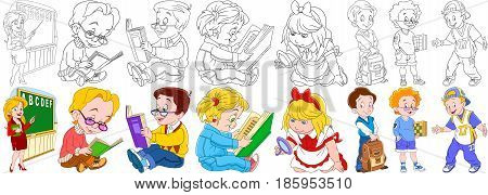 Cartoon school set. Young teacher pointing at the blackboard pupils reading textbooks girl with magnifier schoolboy holding backpack boy chess player rapper singer. Coloring book pages for kids.