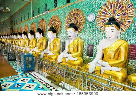 U Min Thonze pagoda in Sagaing at Mandalay hill , Myanmar.(Burama)