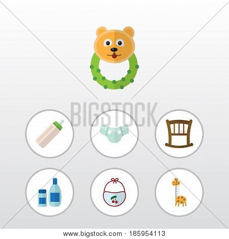 Flat Kid Set Of Feeder, Pinafore, Infant Cot And Other Vector Objects. Also Includes Baby, Bed, Giraffe Elements.