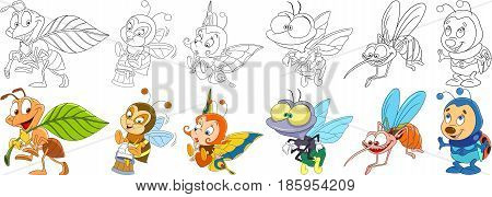 Cartoon animals set. Collection of insects. Busy ant bee (bumblebee) with honey butterfly house fly mosquito (gnat midge) ladybug (ladybird). Coloring book pages for kids.