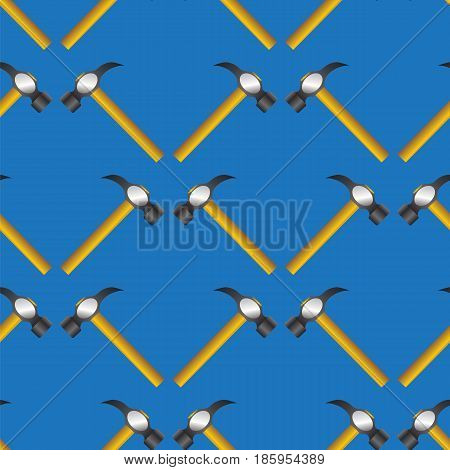 Hammer Seamless Random Pattern Isolated on Blue Background