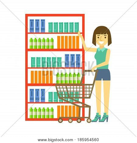Woman shopping at supermarket with cart. Shopping in grocery store, supermarket or retail shop. Colorful character vector Illustration isolated on a white background