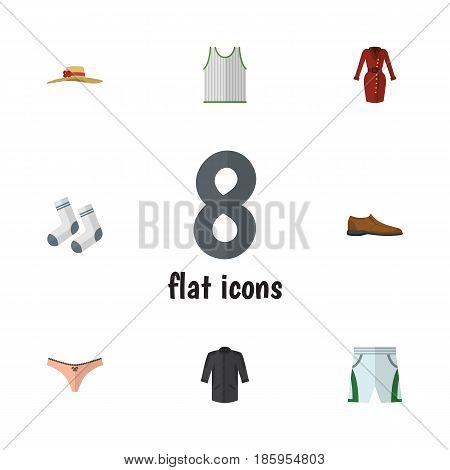 Flat Garment Set Of Trunks Cloth, Clothes, Male Footware And Other Vector Objects. Also Includes Shorts, Kimono, Socks Elements.