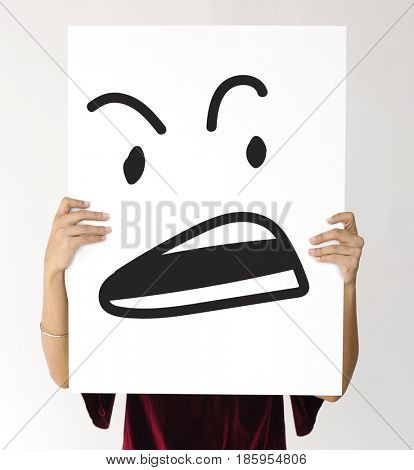 Illustration of agressive madness face on banner