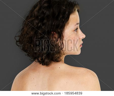 Young Adult Woman Topless Studio Portrait