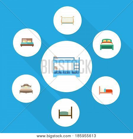 Flat  Set Of Bunk Bed, Cot, Hostel And Other Vector Objects. Also Includes Bearings, Crib, Hostel Elements.