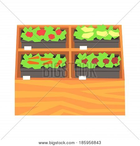 Supermarket shelves with ruits and vegetables. Fresh healthy vegetables in supermarket store colorful vector Illustration isolated on a white background