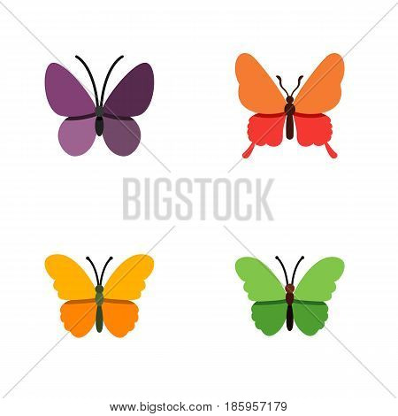 Flat Butterfly Set Of Violet Wing, Milkweed, Danaus Plexippus And Other Vector Objects. Also Includes Summer, Moth, Insect Elements.