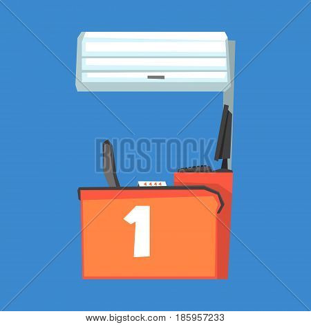 Red cash register terminal, number one vector Illustration isolated on a white background