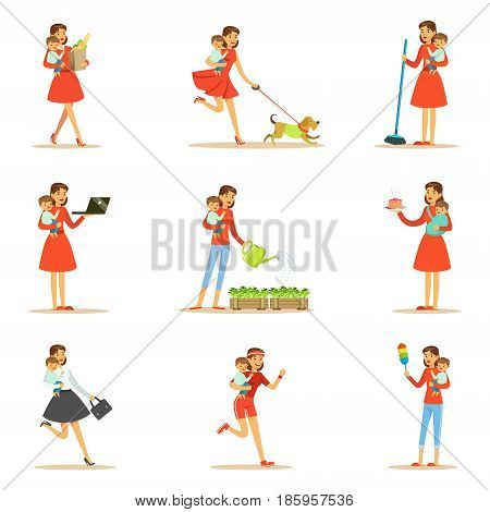 Mother Holding Baby In Arms Doing Different Activities Set Of Illustrations With Supermom And Her Duties. Young Mom With Kid Managing To Do Everything Collection Of Female Cartoon Character Life Scenes.