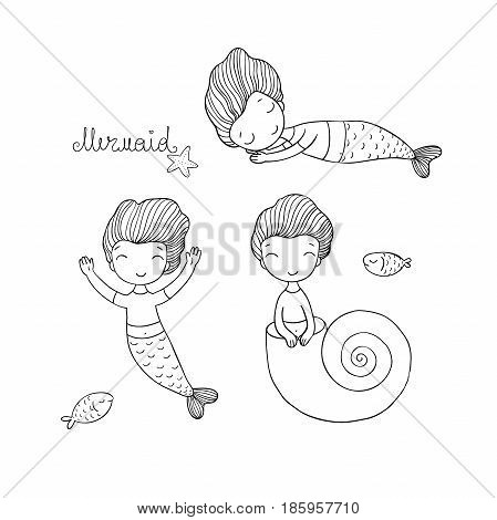 Set with Cute cartoon mermaid. Little sisters. Fun triplets. Siren. Sea theme. vector illustration on a white background.