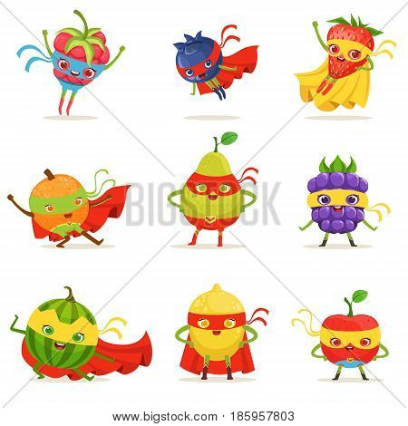 Superhero Fruits In Masks And Capes Set Of Cute Childish Cartoon Humanized Characters In Costumes. Healthy Fresh Food With Superpowers Vector Illustrations In Bright Colors.