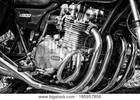 PAAREN IM GLIEN GERMANY - MAY 19: Close-up of motorcycle engine Kawasaki Z900 black and white