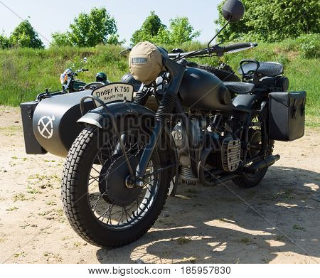 PAAREN IM GLIEN GERMANY - MAY 19: Soviet heavy motorcycle with sidecar Dnepr K750