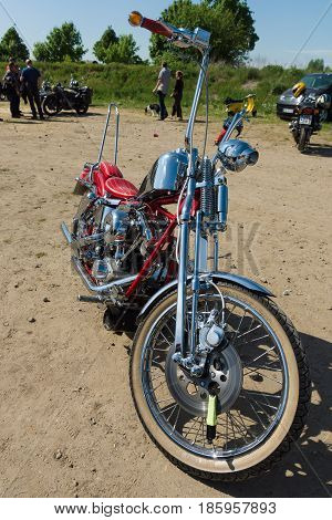 PAAREN IM GLIEN GERMANY - MAY 19: Motorcycle Harley Davidson Custom Chopper