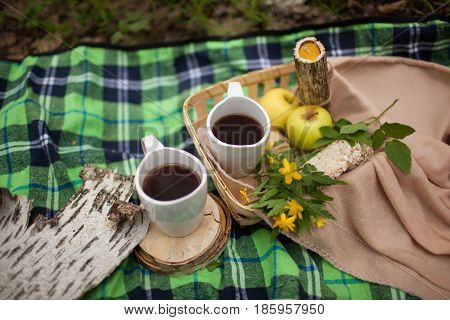 two mugs of tea are on the green plaid