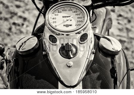 PAAREN IM GLIEN GERMANY - MAY 19: The dashboard and fuel tank motorcycle Harley Davidson black and white