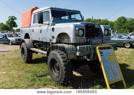 PAAREN IM GLIEN GERMANY - MAY 19: Off-road Land Rover Defender 109 Bigfoot Monstertruck