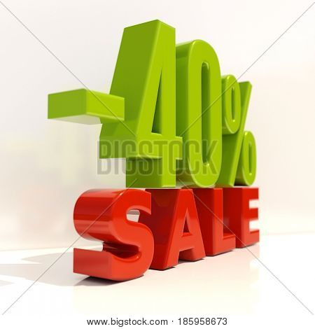 3d render: Sale Banner or Poster Discount Template, Retail Image 40% Sale Sign