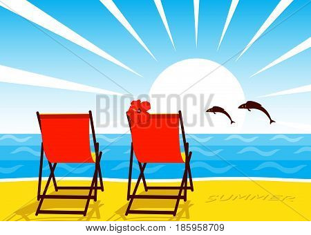 vector deck chairs on the beach and fishes jumping over the sea