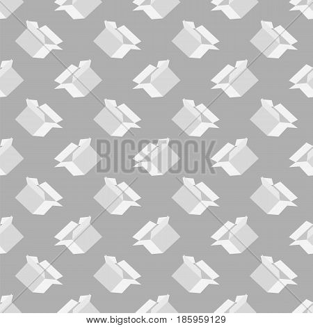 Open Paper Boxes Seamless Pattern on Grey Background