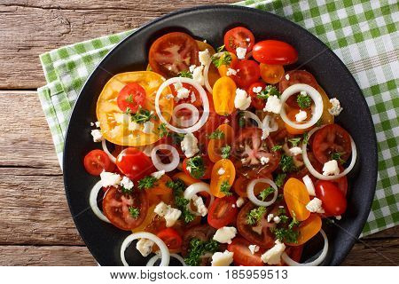 Salad Of Mix Of Tomatoes, Onions And Roquefort Cheese Close-up. Horizontal Top View
