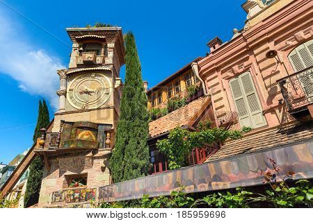 falling tower at Marionette Theatre square in the center of Tbilisi, Georgia, Europe