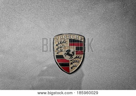 PAAREN IM GLIEN GERMANY - MAY 19: The emblem of the sports car Porsche 928
