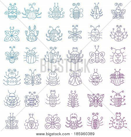 Thin line insects icons set. Color outline Butterfly, bugs collection