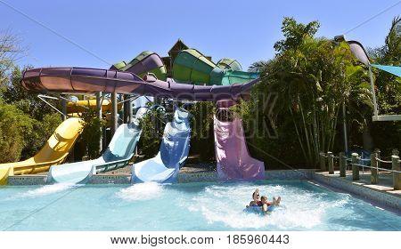 Aquatica water park Orlando Florida USA - October 23 2016: Tourists on Omaka Rocka adventure slide in Aquatica water park