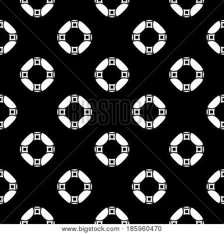 Vector monochrome repeat texture, black and white geometric seamless pattern with simple figures, circles, rings and rounded squares. Dark abstract background. Design for decor, textile, fabric, print