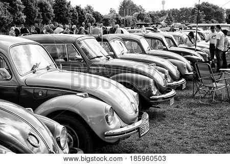 Paaren Im Glien, Germany - May 19: The Several Cars Volkswagen Beetle (black And White),