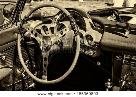 Paaren Im Glien, Germany - May 19: Cab The Car Chevrolet Corvette (first Generation-c1), Sepia,