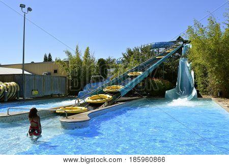 Aquatica water park Orlando Florida USA - October 23 2016: HooRoo Run adventure slide in Aquatica water park