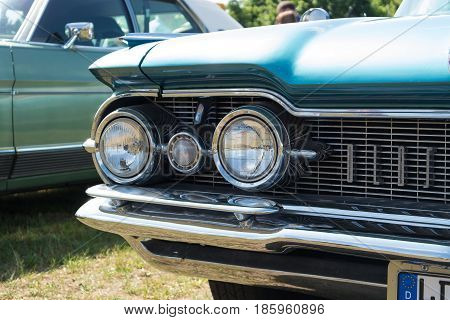 Paaren Im Glien, Germany - May 19: Headlamp Full-size Car Oldsmobile 98 (fifth Generation),