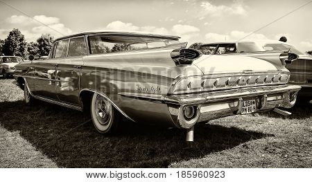Paaren Im Glien, Germany - May 19: Full-size Car Oldsmobile 98 (fifth Generation), Rear View, Sepia,