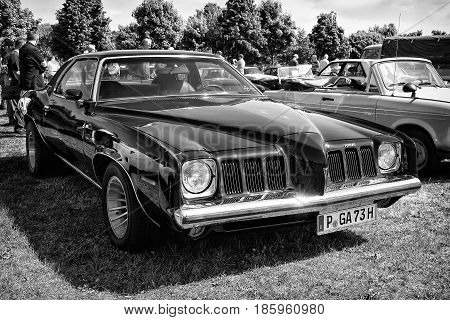 Paaren Im Glien, Germany - May 19: Mid-size Car Pontiac Grand Am, Black And White,