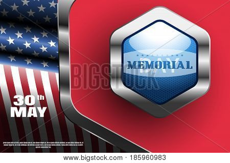 Memorial Day vector wide poster with metal blue label with shadow on the red background with metal frame and american flag.