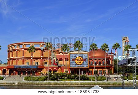 Universal Studios Resort Orlando Florida USA - October 24 2016: Hard Rock Cafe in the Universal Orlando Resort adventure theme park