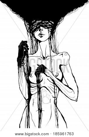 nude girl with black hands and a lot of eyes horror vector graphic