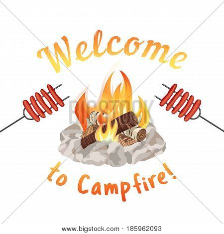 Campfire icon isolated on white. Freehand drawn cartoon style. Fancy letters of welcome invitation. Grilled smoked sausages. Base camp fire rocks ring. Outdoor camping advertising banner background