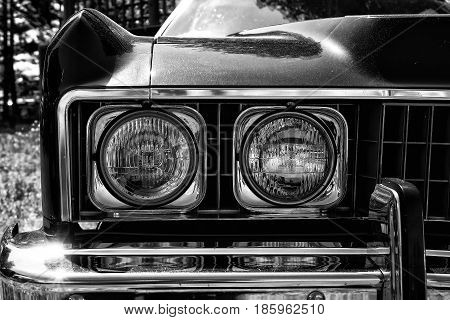 Paaren Im Glien, Germany - May 19: Headlamp Full-size Car Chevrolet Caprice (1973), Black And White,