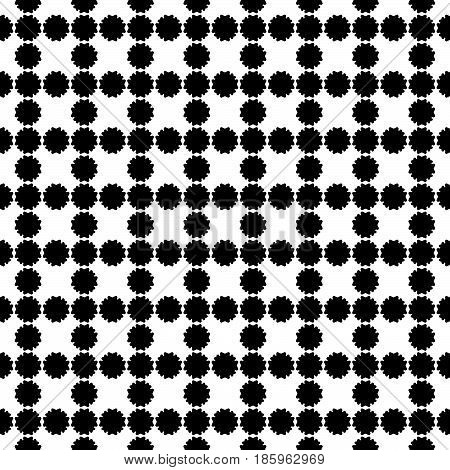 Vector seamless pattern, simple floral geometric texture. Black flower silhouettes on white backdrop, square grid, repeat tiles. Abstract background, old style design. Element for prints, decoration