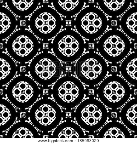 Vector monochrome seamless texture, arabic pattern with floral figures, delicate lattice, mosaic tiles. Abstract dark geometric background. Design element for decor, covers, prints, textile