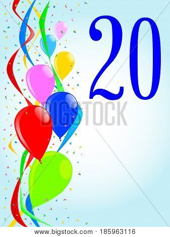 Multi coloured balloons confetti and streamers a party image with the numeral 20