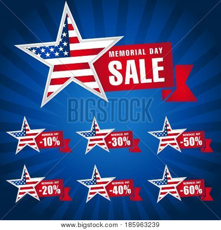 Memorial day USA sale dark blue template. Memorial Day Sale discount labels for web banner special offer vector illustration