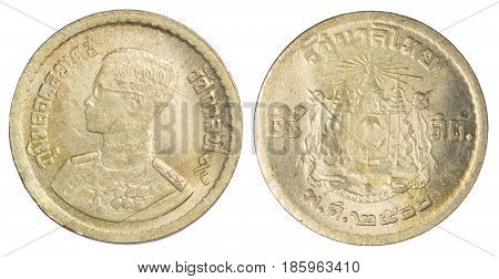 Thailand five satang coin (1957 or B.E.2500) isolated on white background.