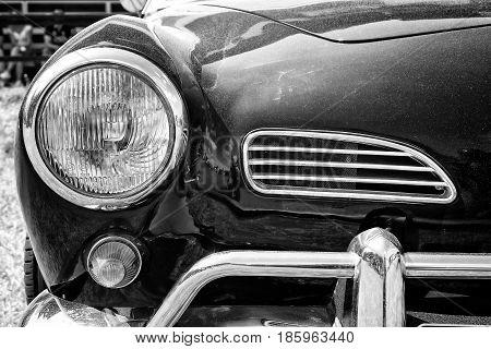 Paaren Im Glien, Germany - May 19: Headlamp Car Volkswagen Karmann Ghia, Black And White,