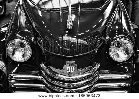 Paaren Im Glien, Germany - May 19: Detail Of The Front Of The Car Opel Kapitan, 1952 (black And Whit